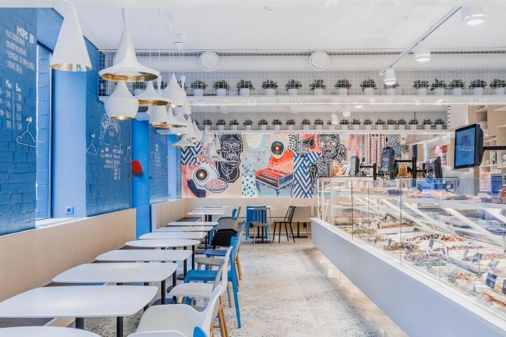 Blau-Weisses Cafe in Moskau